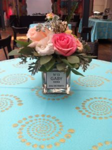 Perfume theme table centerpiece