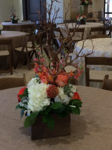 Coral and gold branch centerpiece