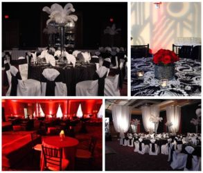 20s theme black white and red
