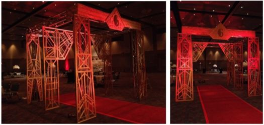 20s theme red and gold entry for corporate gala