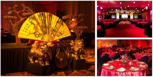 Asian theme pink and red corporate theme gala