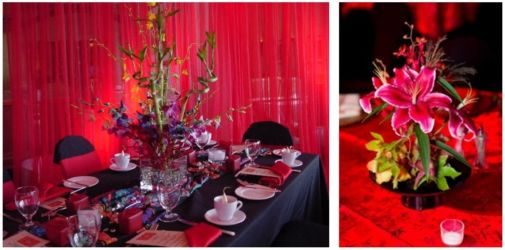 Asian theme pink and red for corporate or mitzvah
