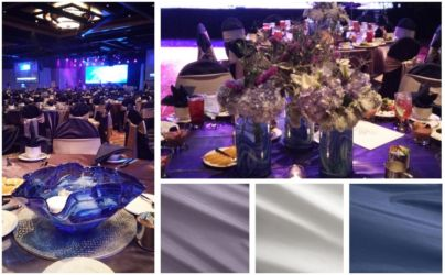 Blue silver and purple nautical inspired corporate gala