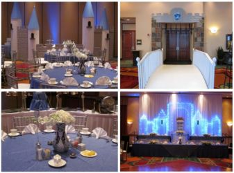 Castle or Princess theme for social birthday or mitzvah blue