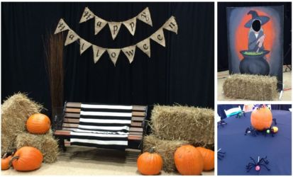 Halloween party decor for corporate or social event orange