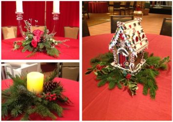 Holiday decor red and green table decor for corporate or social