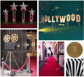 Hollywood theme red and gold decor for mitzvah or corporate