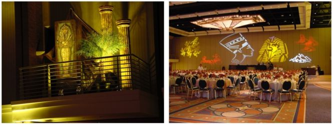 International theme Egyptian gold decor for corporate or social