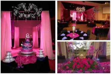 Masquerade theme pink decor birthday social event