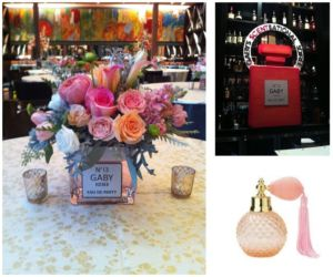 Pink and orange floral and signage for mitzvah or birthday