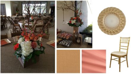 Rustic branch centerpiece with brown and orange linens for social event