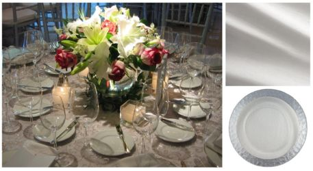 Silver and white wedding tablescape