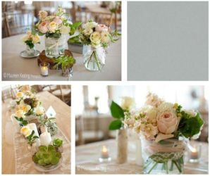 Vintage wedding with rustic wood pink gray and lace