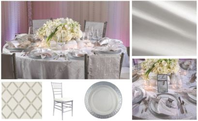 White and silver wedding table decor