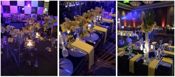Yellow floral modern wedding or mitzvah decor